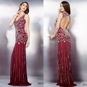 JOVANI all beaded burgundy long gown size 4